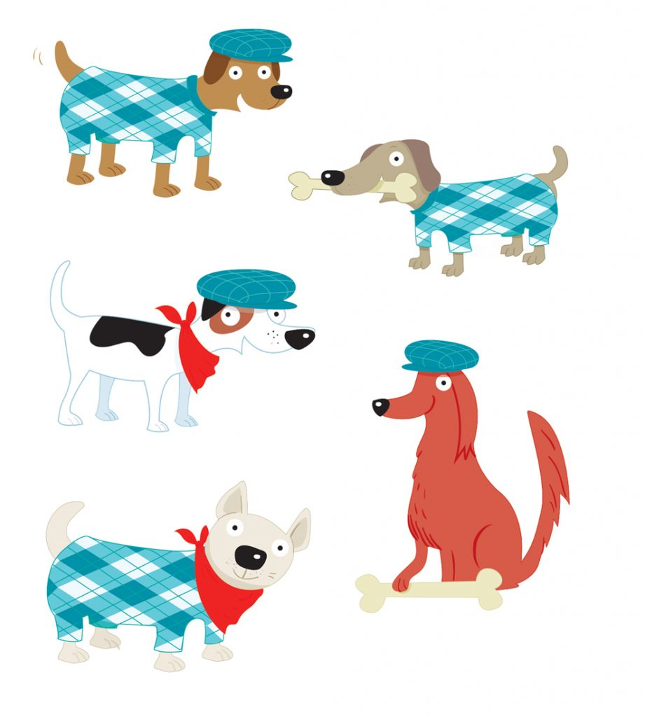 dogs in coats, vector dogs, dogs