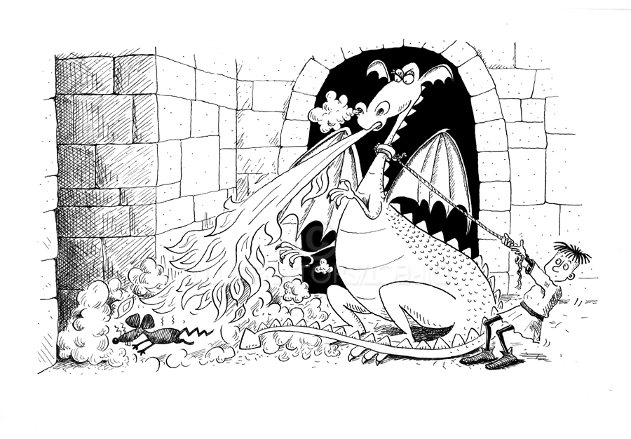 Angry dragon. dragon in the castle