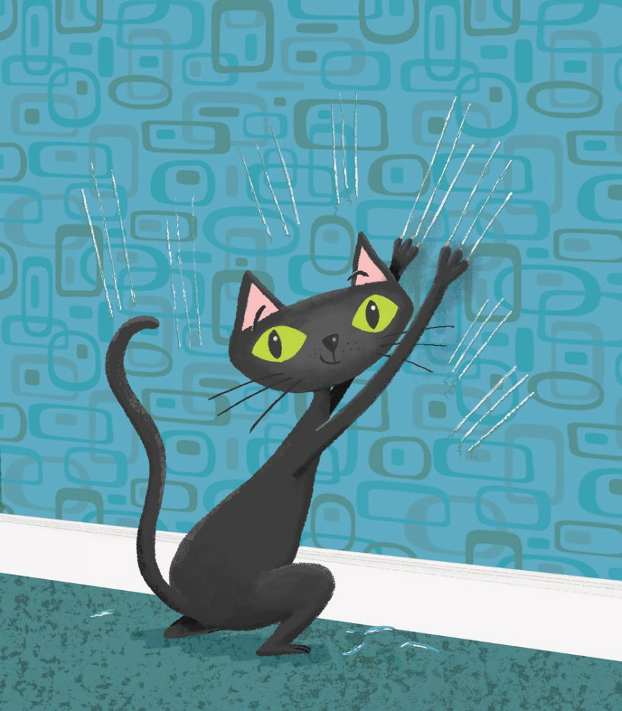 black cat, cat scratching wallpapers, cat scratching, naughty cat