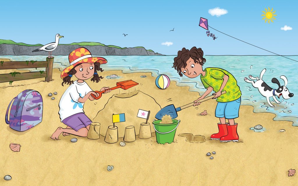 children by the seaside, on the beach, building sandcastles