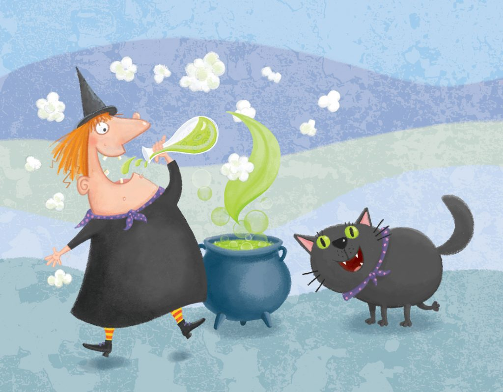 witch, witch and cauldron, witch's spell, witch and black cat