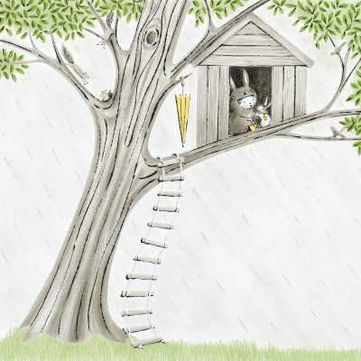 Ollie and her rabbit take shelter from rain in treehouse