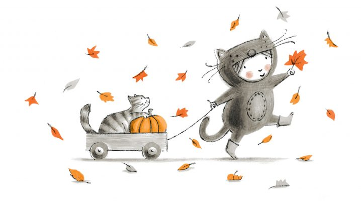 Ollie pulling cart with her cat Pumpkin inside
