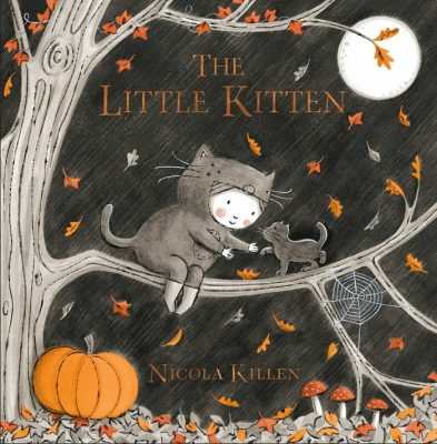 Ollie and the kitten sit on a branch under the moon