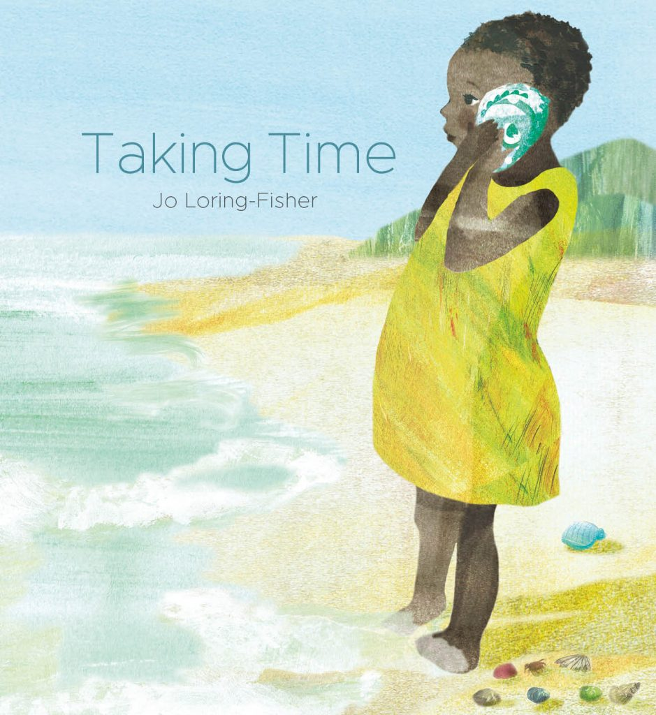 Cover image with a child of colour listening to a seashell as she paddles in the sea
