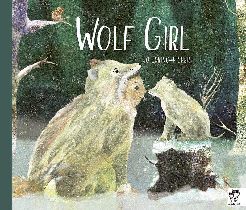 Book cover with a girl in a wolf costume rubs noses with a wolf pup. It is dark and snowing