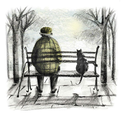 Elderly man and cat on a bench.