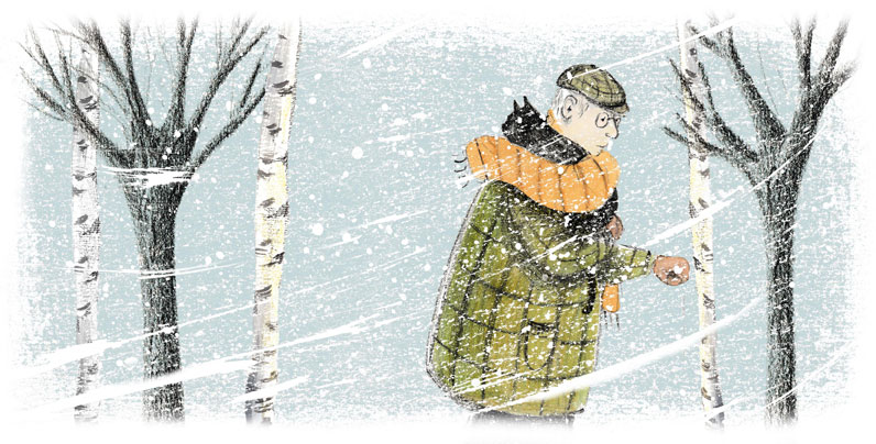 Elderly man and cat in the snow.