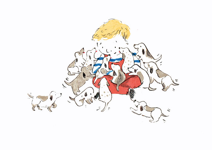 Boy with puppies.