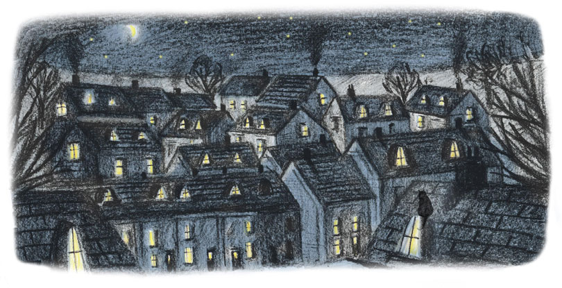 Houses at night/