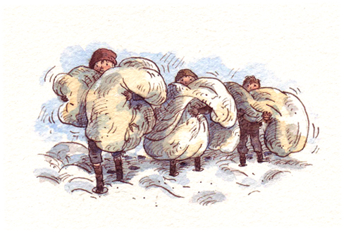 Carrying blankets through snow.