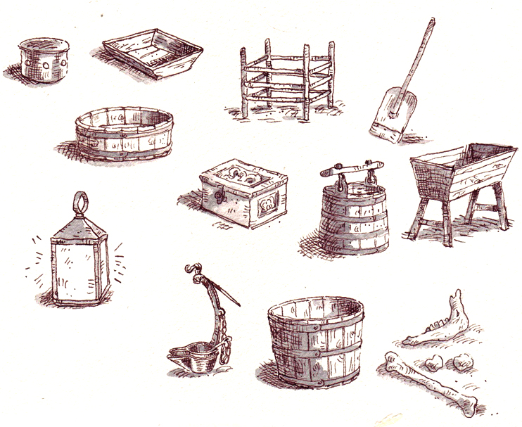 Spot illustrations of old fashioned objects.