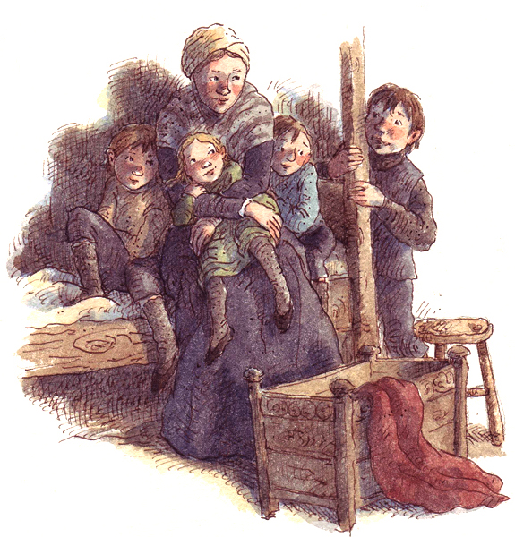 Old fashioned woman and children on bed.