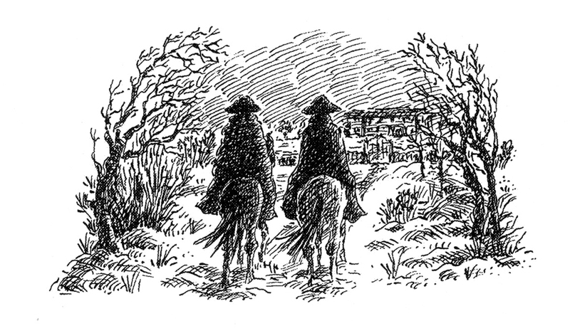 Men in tricorn hats and cloaks on horseback