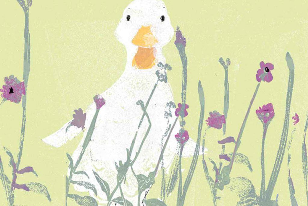 Goose amongst flowers