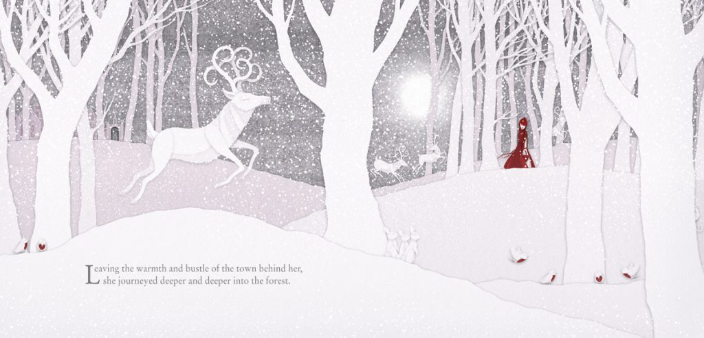 Little Red May in snowy forest