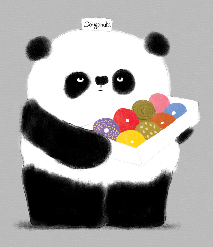 Panda with doughnuts.