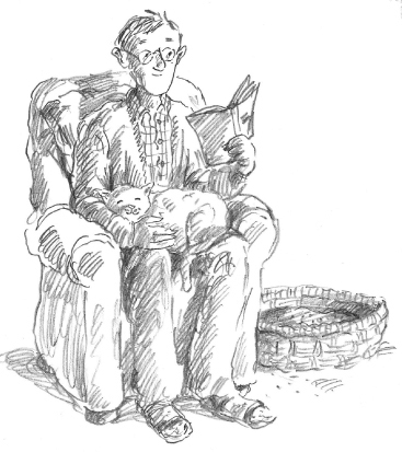 Pecil drawing of man in a chair with a cat on his lap reading.