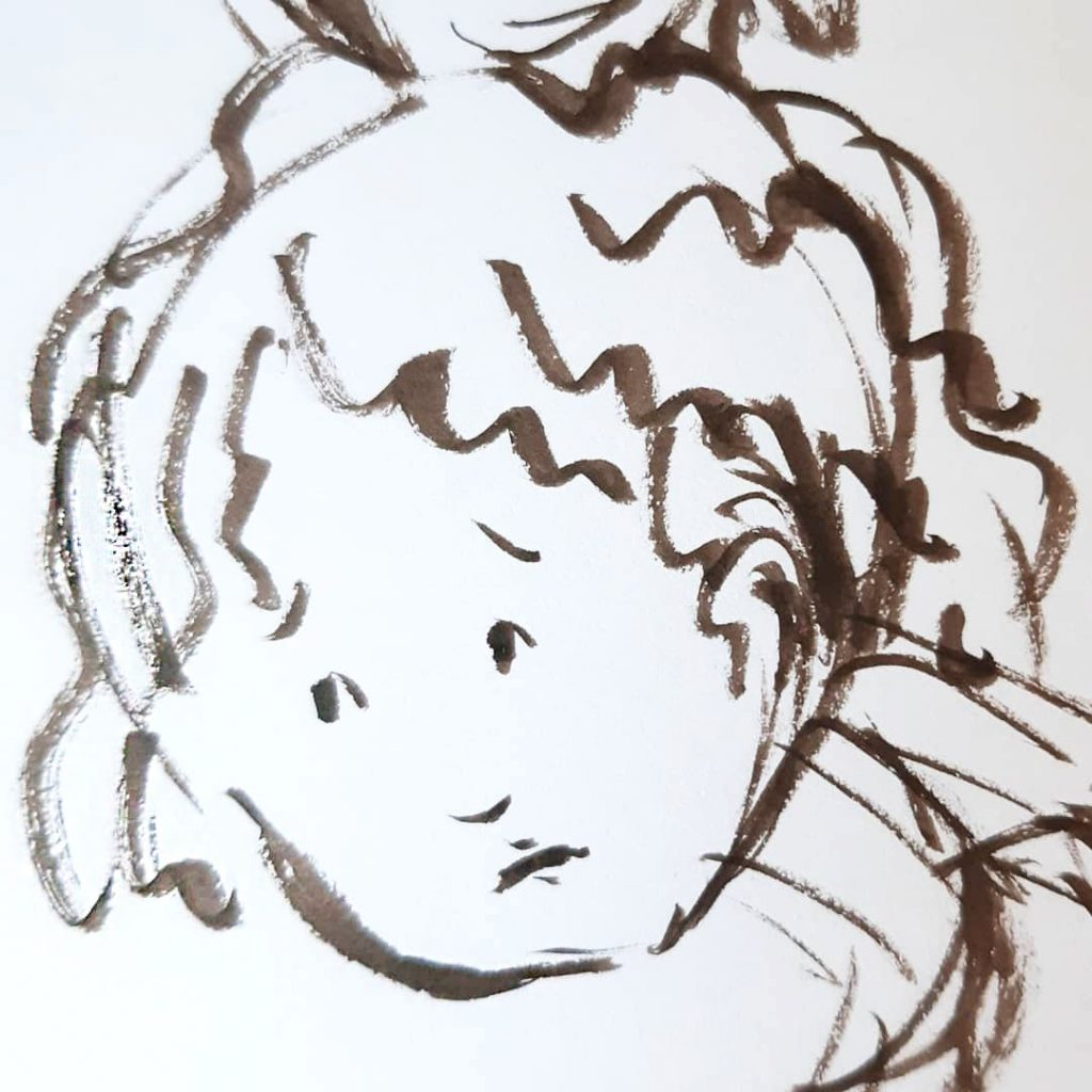 Sad child- character sketct picture book illustration