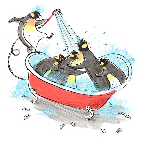Penguins in the bath.