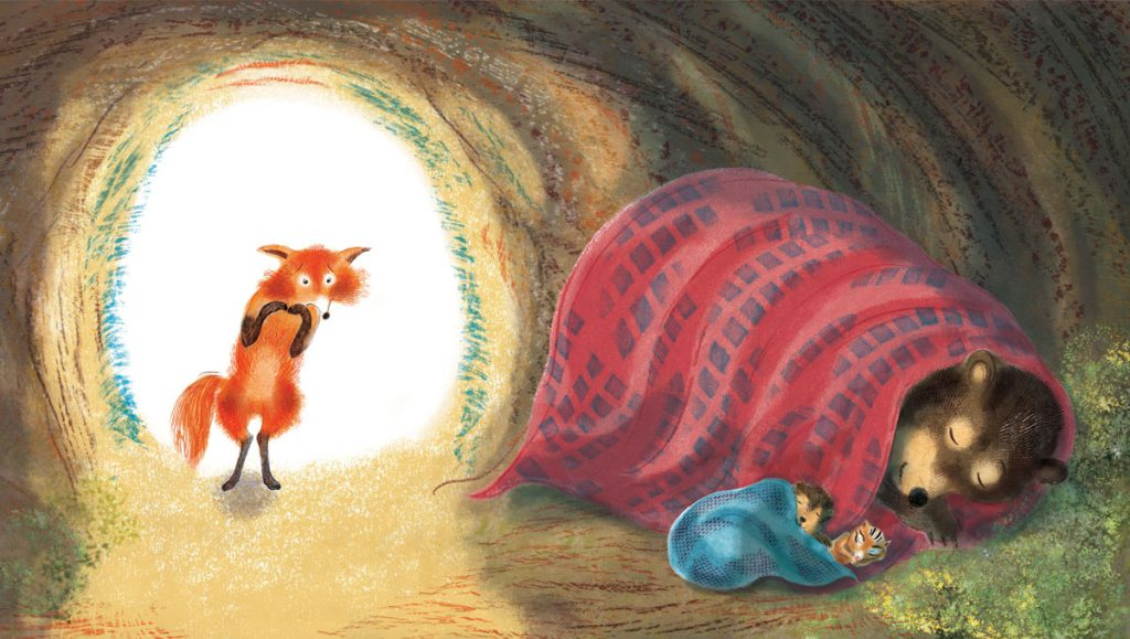 Fox and sleeping animals in cave.