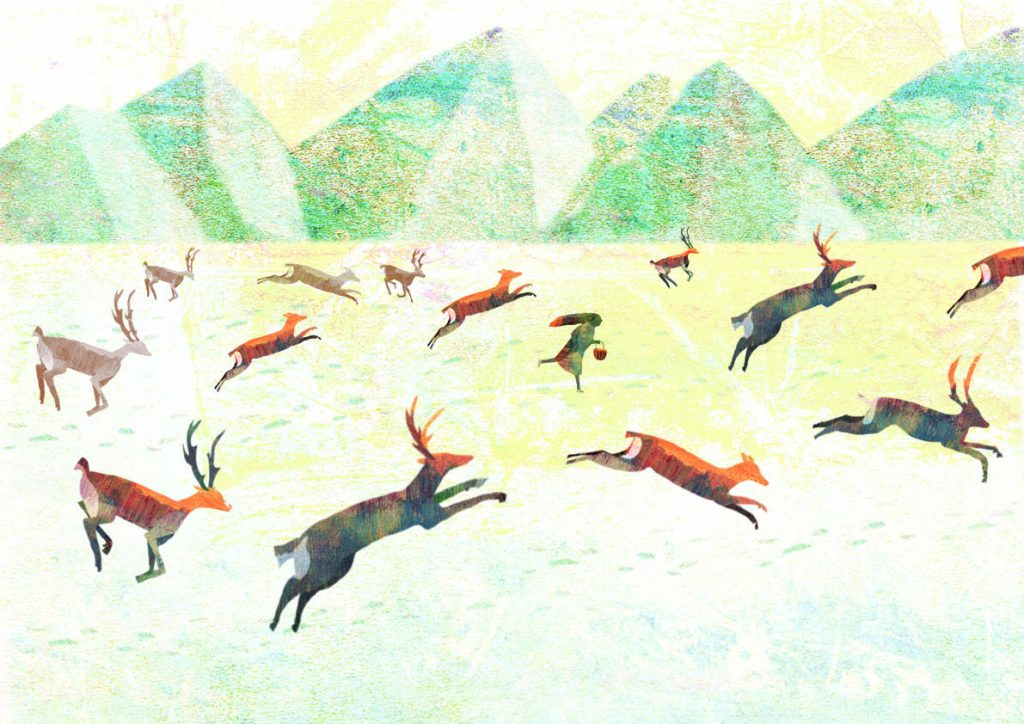 Girl running with deer in a snowy mountainous landscape
