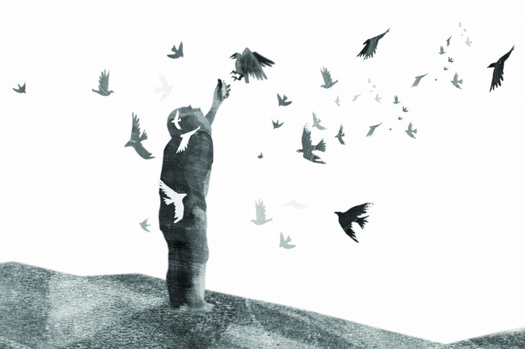 Black and white image of an old man holding up two smalls figures which are collected the a flock of black birds.