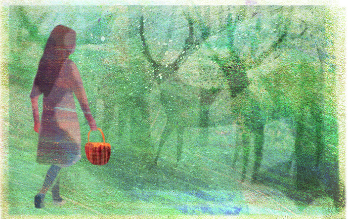 Girl walking in misty woods surrounded by strange shapes.