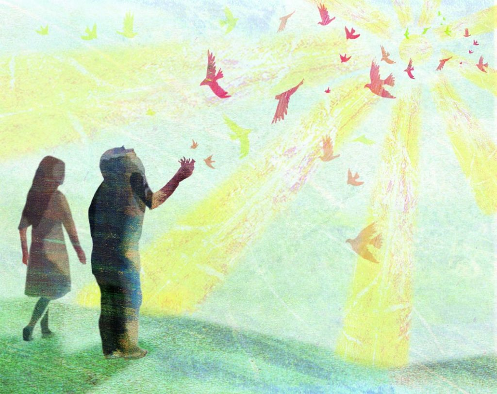 The girl and old man stand together at sunset. Birds are flying to collect the figures held in the old man's hand.