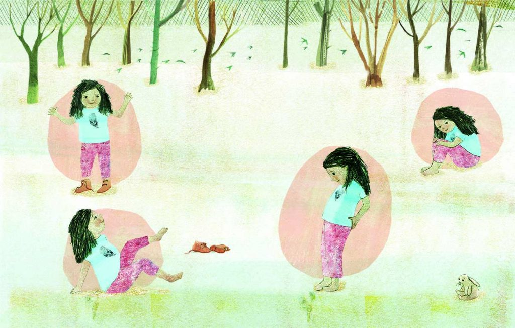 The little girl stands by trees with swallows flying past. She shows her hands, her feet, her knees and points to her bottom