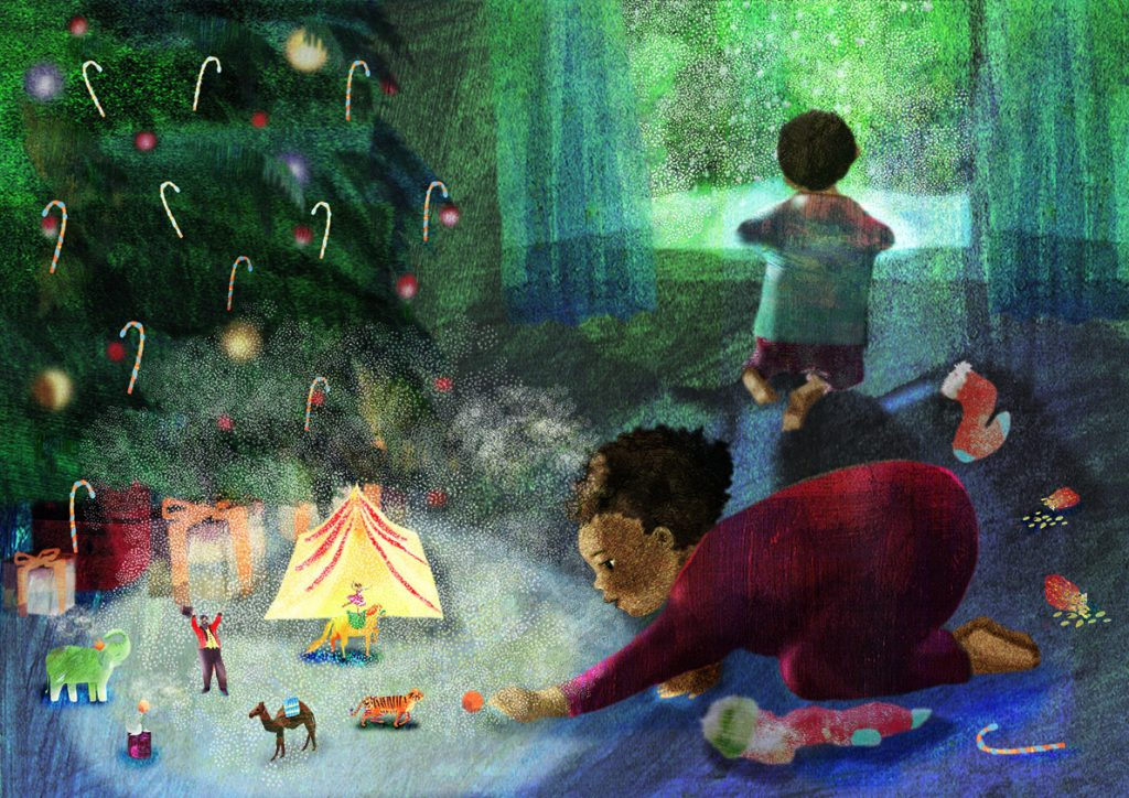 A child of colour plays with a circus prsent that has come to life in her imagination. Christmas tree and presents and stockings strewn. Another child watching snow from the window.