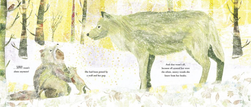 A wolf and pup appear to Sophy in a sunny, snowy landscape