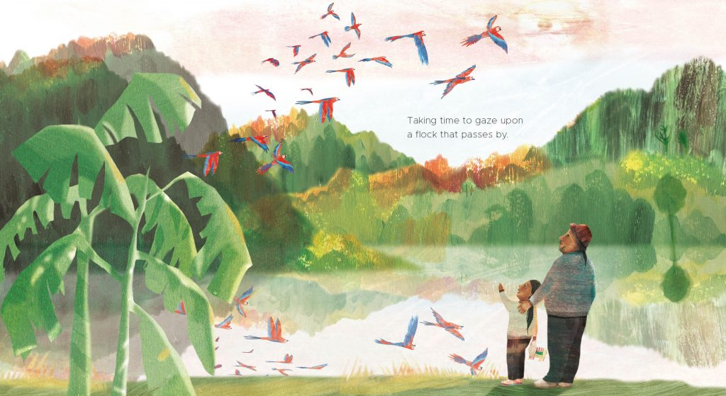 A girl and her uncle stand in a jungle clearing watching a flock of macaws over a lake