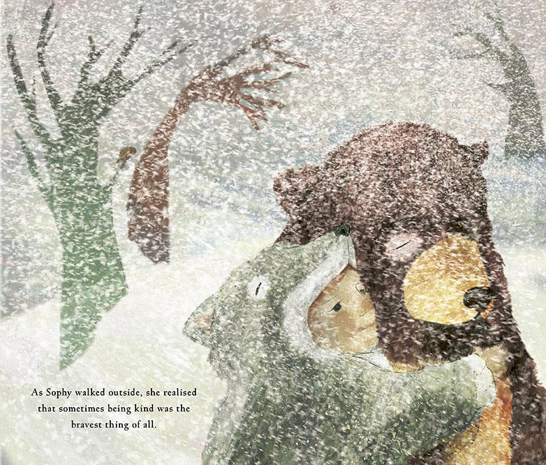 Sophy, in her wolf suit, rescuing the bear from the snowy outside