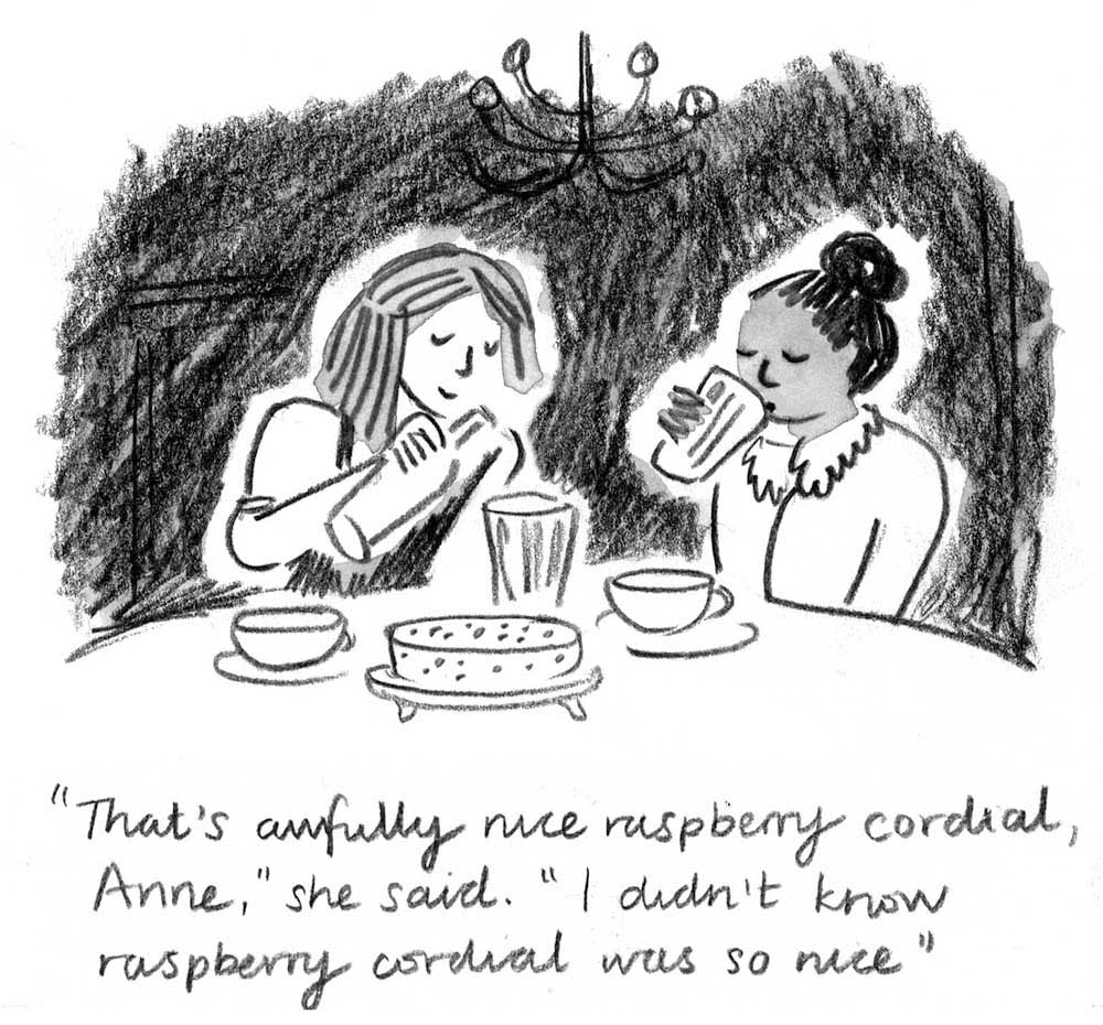 Anne of Green Gables: Anne drinks raspeberry cordial with her bosom friend Diana