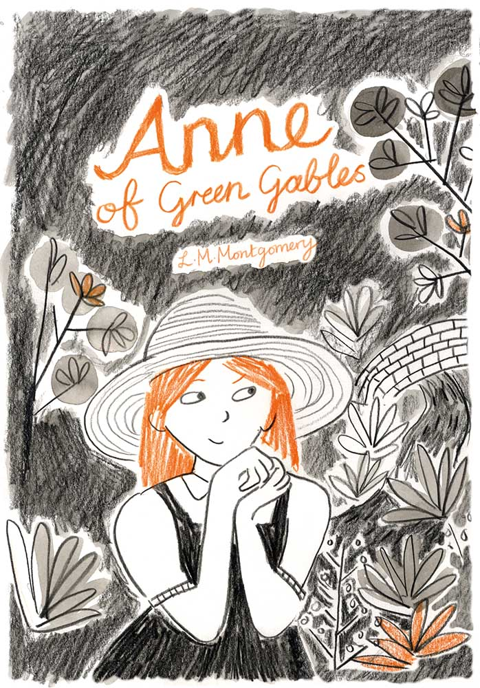 Anne of Green Gables cover image of Anne at Green Gables surrounded by trees and foliage and with the bridge in the background.