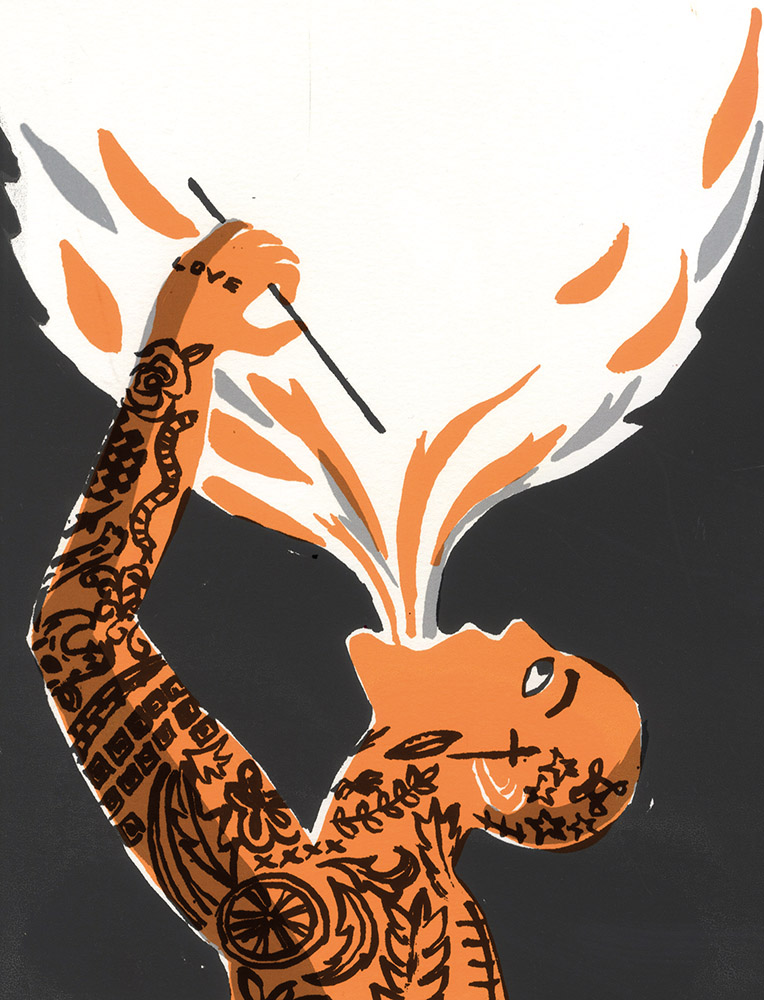 Image for The Fire Eaters by David Almond. Man covered tattoos eats fire.