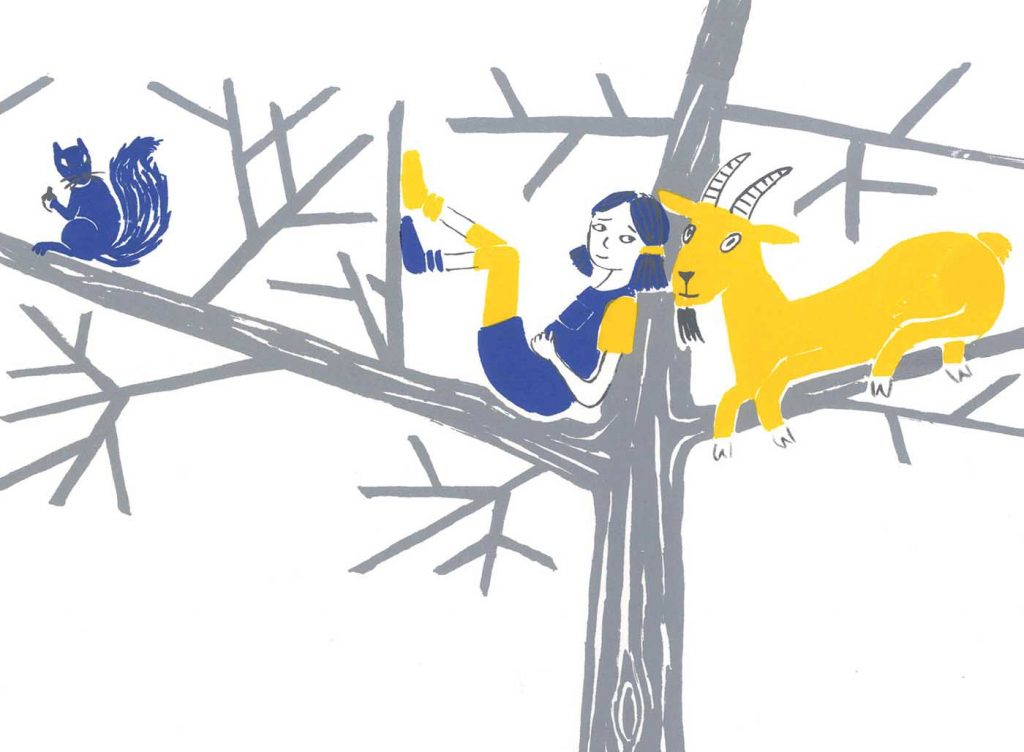 A girl sits in a tree with a goat and a squirrel