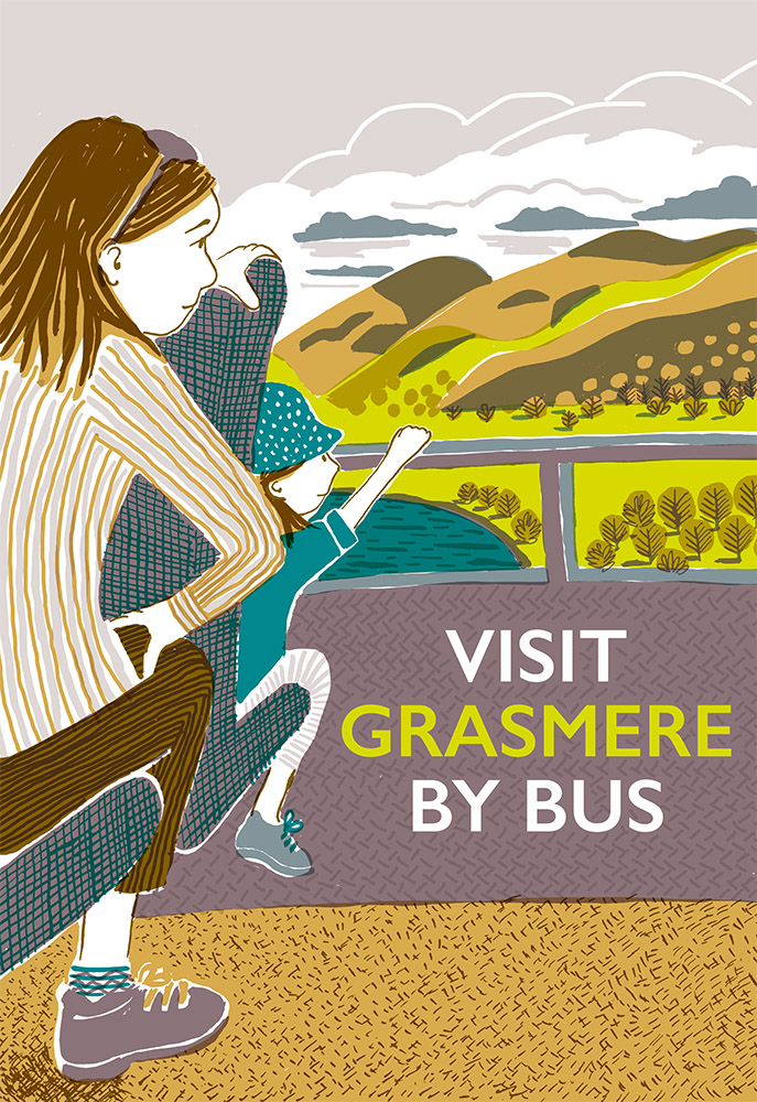 A poster to encourage people to use the bus services to visit Grasmere in the Lake District. A mother and child admire the scenery from the upstairs front seat of the bus.