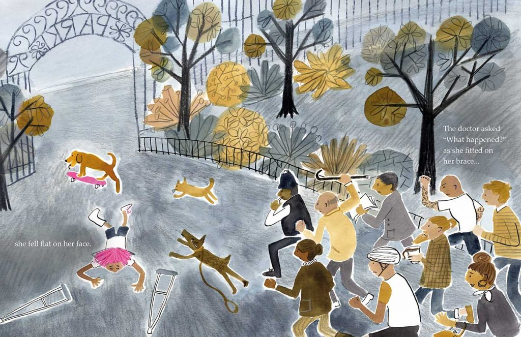 Lucy's Lace: A crowd of angry people chase a dog on a skateboard out of the park, who has knocked Lucy over in the process.
