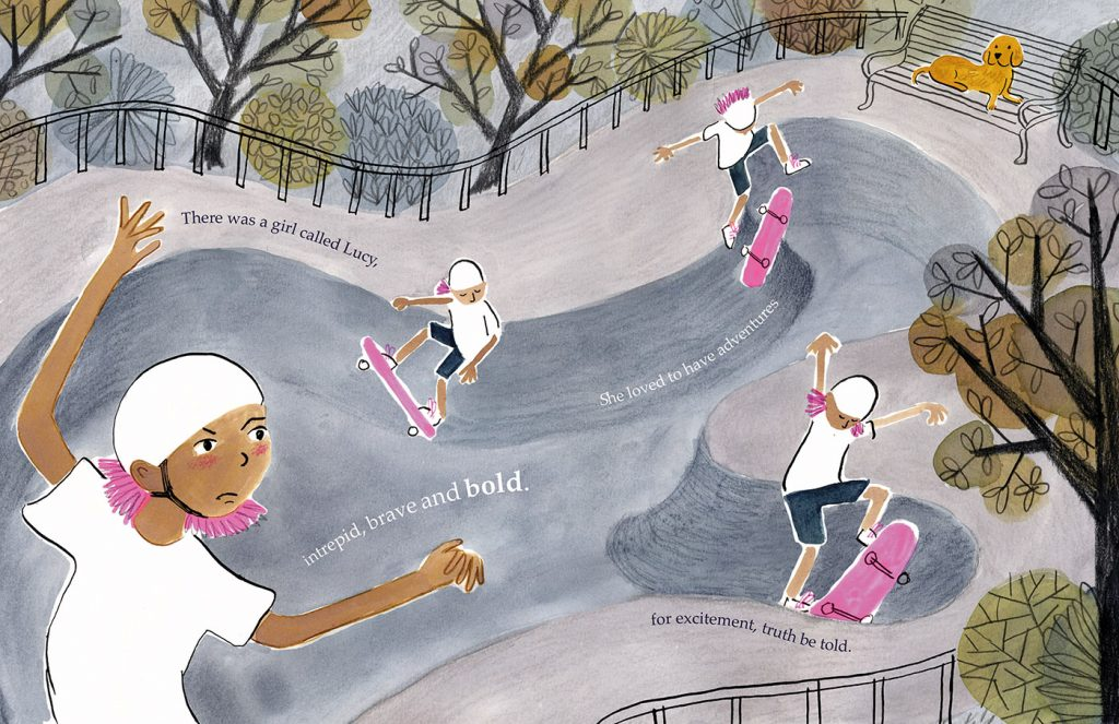 Lucy's Lace: Lucy skateboards around the page.