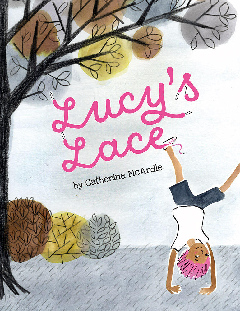 Lucy's Lace: Lucy cartwheels across the cover, in a park setting surrounded by trees and foliage.