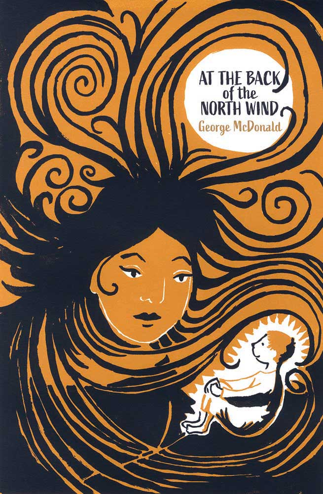 Book cover for At the Back of the North Wind by George McDonald. The female iteration of the north wind speaks to Diamond (the boy in the story)