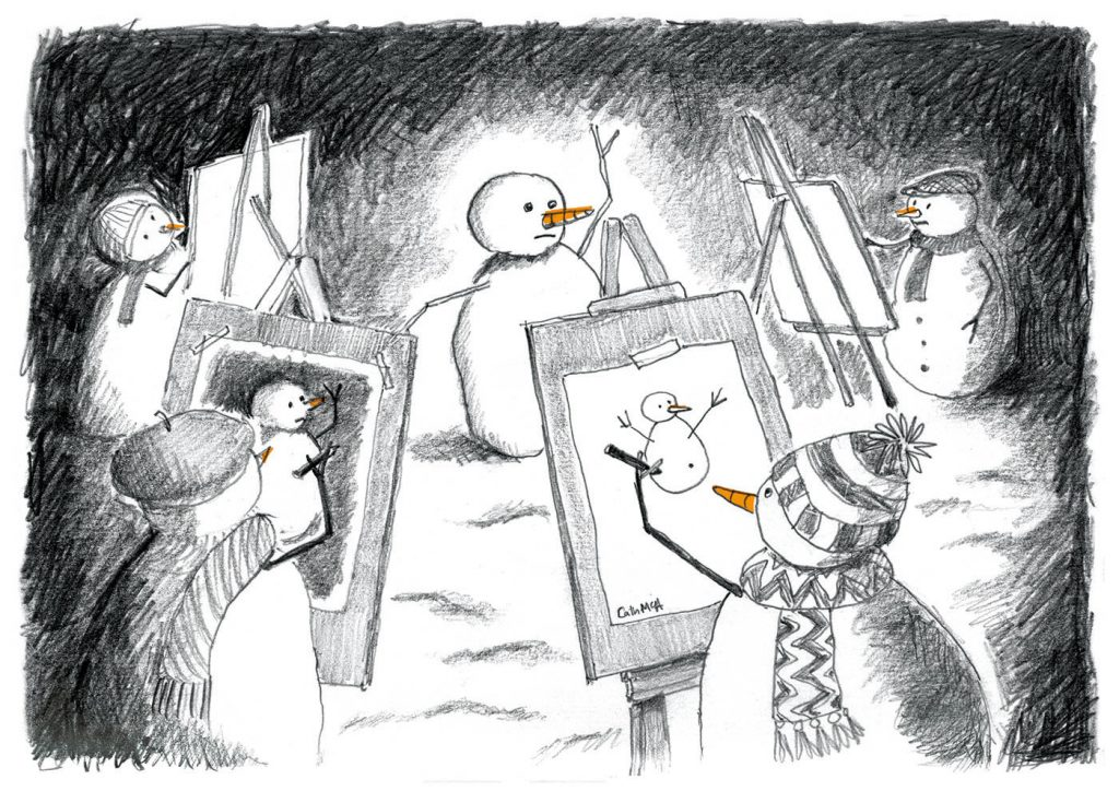 Pencil drawing of snowmen in a life-drawing class
